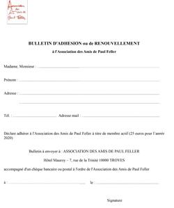 Miniature du bulletin d'adhésion